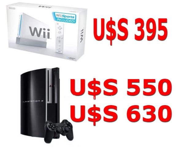 Video Consolas y Juegos: Consolas juegos precios mayorista - wii u$s 395  / ps3 u$s 550