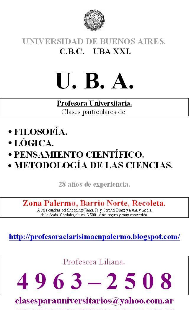 Clases particulares: Profesora uba xxi- pensamiento científico. 4963-2508. Barrio norte-palermo. Amplia experiencia. 9 a