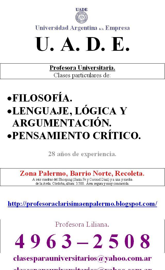 Clases particulares: Profesora uade lenguaje, lógica y argumentación. 4963-2508. Barrio norte-palermo. Amplia experiencia