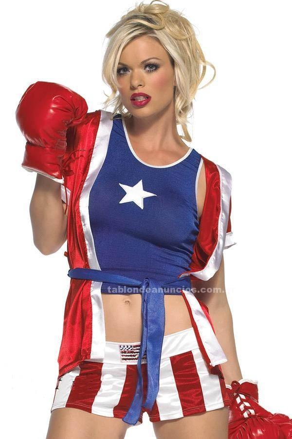 Otros: Disfraz boxeadoras guantes de box sensual station referi sexy