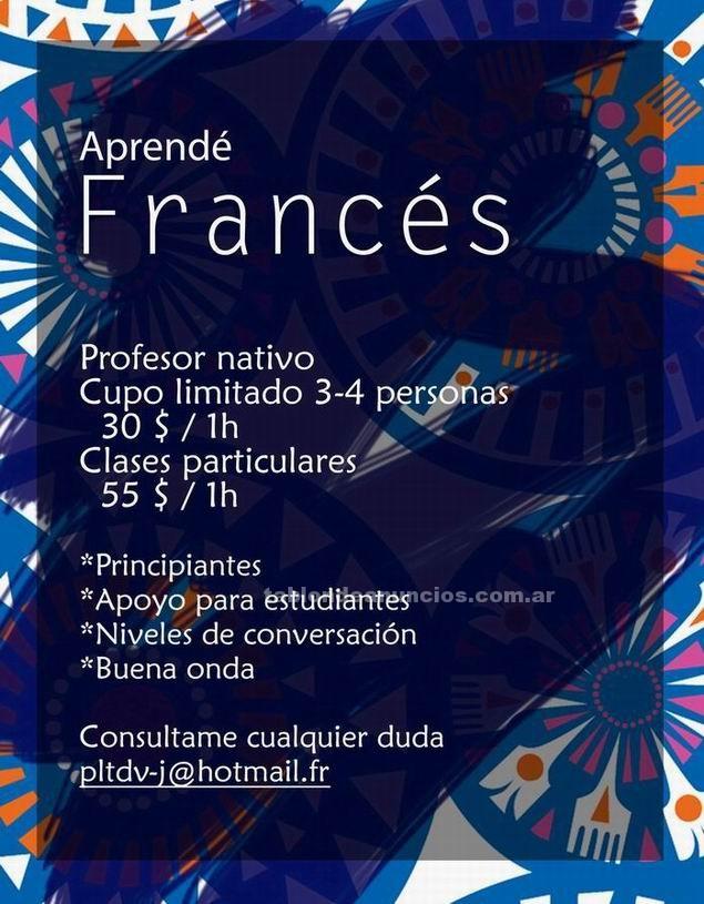 Clases particulares: Clases de frances -- 30-55 pesos -- profesor nativo
