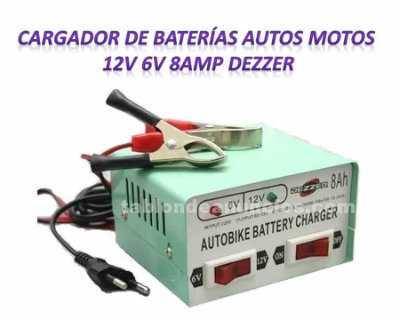 Accesorios: Cargador de baterías autos motos 12v 6v 8amp dezzer oferta!